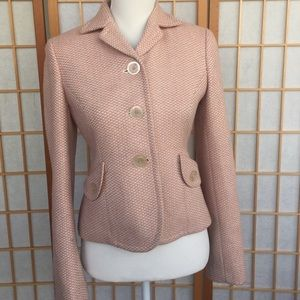Ann Taylor LOFT pink and cream wool blazer